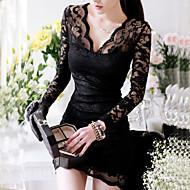 vrouwen sexy kant v-hals jurk met lange mouwen
