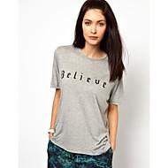 Women's Letter Gray T-shirt , Crew Neck Short Sleeve