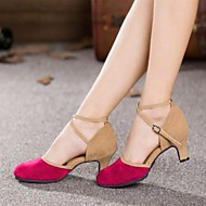 Non Customizable Women's Dance Shoes Modern Suede Cuban Heel Black/Blue/Brown/Green/Pink