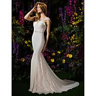Lanting Bride Lanting Trumpet/Mermaid Wedding Dress Chapel Train Scoop Lace / Georgette