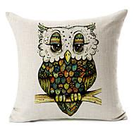 vert hibou coton / lin taie d'oreiller décoratif