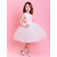Engagement Party/Formal Evening/First Communion/Wedding Party/Vacation Dress - Blushing Pink Ball Gown Jewel Knee-length Satin/Tulle