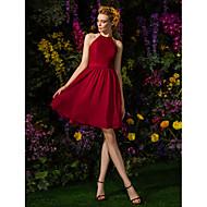 Knee-length Chiffon / Lace Bridesmaid Dress-Plus Size / Petite A-line Jewel