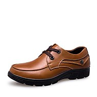 Men's Spring / Summer / Fall / Winter Round Toe Leather / Patent Leather Office & Career / Casual Low Heel Lace-up Black / Brown / Khaki