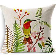 / linnen decoratieve kussensloop vogel en bloemen katoen