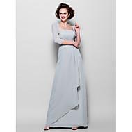 Sheath/Column Plus Sizes Mother of the Bride Dress - Silver Floor-length 3/4 Length Sleeve Chiffon