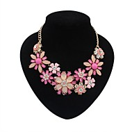 Women's Statement Necklaces Flower Alloy Basic Flowers European Statement Jewelry Bohemian Black Fuchsia Light Blue Rainbow Jewelry For