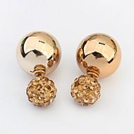 Women's Gorgeous Rhinestone Pave Round Beads Stud Earrings