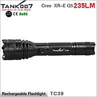 Tank007® פנס LED / פנסי יד LED 235 Lumens 3 מצב Cree XR-E Q5 18650עמיד למים / ניתן לטעינה מחדש / עמיד לחבטות / אחיזה נגד החלקה / Strike