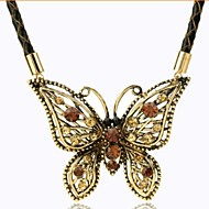 Retro Butterfly Crystal Necklace