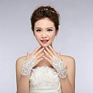 ivoire dentelle fingless gants de mariage ASG1
