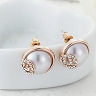 ZGTS Women's Gorgeous 18K Gold/Silver Ellipse Shape Pearl Earring