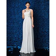 Lanting Sheath/Column Petite / Plus Sizes Wedding Dress - Ivory Floor-length Jewel Chiffon / Lace