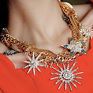 ZGTS Women's Gorgeous Shinny Sunflower Pendant Multilayer Necklace
