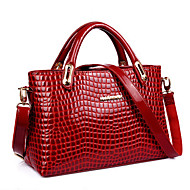 Women PU / Patent Leather Shopper Shoulder Bag / Tote - Blue / Red / Black