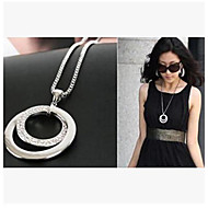Fashion Diamond (circle) Silver Alloy Pendant Necklace(Silver) (1 Pc)