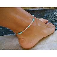 femmes élégantes charme perle métal cheville chaîne bracelet pied sandale bijoux plage