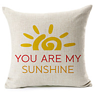 "Bright Color ""You Are My Sunshine"" Cotton/Linen Decorative Pillow Cover"