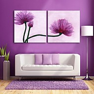 E-HOME® Stretched Canvas Art Purple Flowers Decorative Painting Set of 2