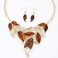 Europe Bohemian Style Fashion Mminimalist Foliage Necklace Earrings Set(More Colors)