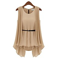 Women's Round Neck Pleated Blouse , Polyester Sleeveless