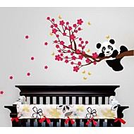 Wall Stickers Wall Decals, Cartoon Panda And Flower Tree PVC Wall Stickers