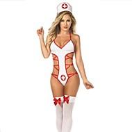 Sexy Girl White Polyester Nurse Uniform
