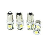 4pcs BA9S (T4W w6w) 2.5W 5x5054smd 160-180lm 6000-6500k λευκό φως για lndicator αυτοκινήτων (dc12-16v)