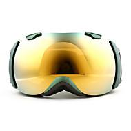 basto cornice verde del sensore d'oro anti-uv occhiali da neve obiettivo di sci a specchio