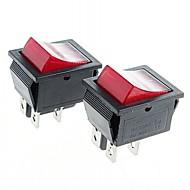4-poligen Wippschalter Wippschalter mit roter Leuchtanzeige (2 Stück)