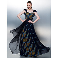 Dress - Print A-line Straps Floor-length Chiffon