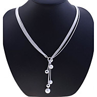 Necklace Strands Necklaces Jewelry Silver / Sterling Silver Party / Daily / Casual Silver 1pc Gift