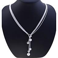 Жен. Ожерелья-цепочки Y-ожерелья Y-образный Шарообразные Стерлинговое серебро Мода Длинный По заказу покупателя Серебряный Бижутерия Для
