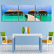 E-HOME® Stretched Canvas Art The Seaside Hut Decoration Painting Set of 3