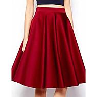 do vintage saias na altura do joelho casuais das mulheres, outros vermelho micro-elástica