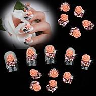 10st parel roze roos bloem 3d strass diy accessoires nail art decoratie