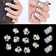 10st 3d roos bloem witte parel strass diy accessoires nail art decoratie