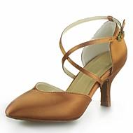 Non Přizpůsobitelné - Dámské - Taneční boty - Moderní - Satén - Kubánské - Černá / Hnědá / Červená / Stříbrná