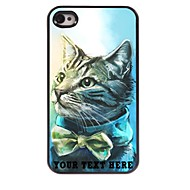 персонализированные телефон случае - прекрасная конструкция корпуса кошка металл для iPhone 4 / 4s