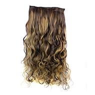 24 pouces 120g à long résistant à la chaleur fibre synthétique pince bouclés dans les extensions de cheveux avec 5 clips