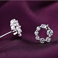 Stud Earrings Women's Silver Earring Crystal