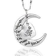 ti amo alla collana luna e ritorno per compagni quanlity argento (catena d'argento casuale)