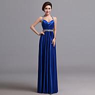 Formal Evening Dress - Royal Blue A-line Halter Floor-length Silk