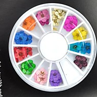 36pcs kleurrijke gedroogde perzik bloesem nail art decoraties