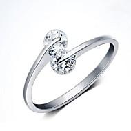 Simple anillo de extremo abierto de plata circón cúbico doble 925