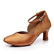 sol lisa sapatos de salto alto padrão das mulheres customizáveis cetim com fivela sapatos de dança (mais cores)