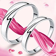 925 Sterling Silver Mark of Love Ring Korean Fashion Smooth Ring Married Lovers Lovers Rings
