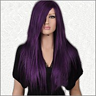 Sexy Long Straight Purple Party Wigs with Side Bang