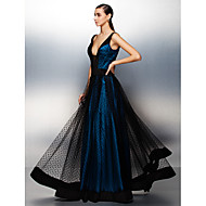 TS Couture Formal Evening Dress - Ink Blue Plus Sizes / Petite A-line V-neck Floor-length Tulle
