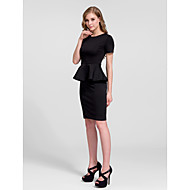 Cocktail Party Dress - White/Black Sheath/Column Jewel Knee-length Cotton